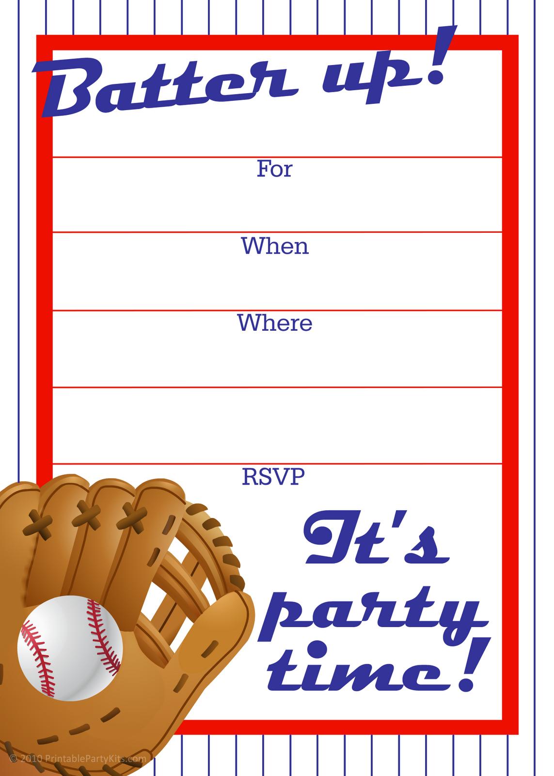 7 Images of Printable Baseball Invitations