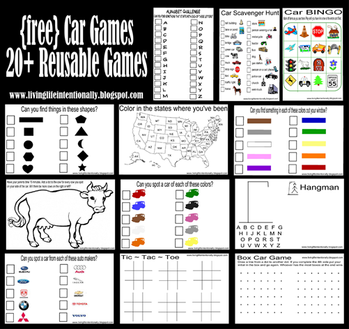 6 Images of Free Printable Road Trip Games