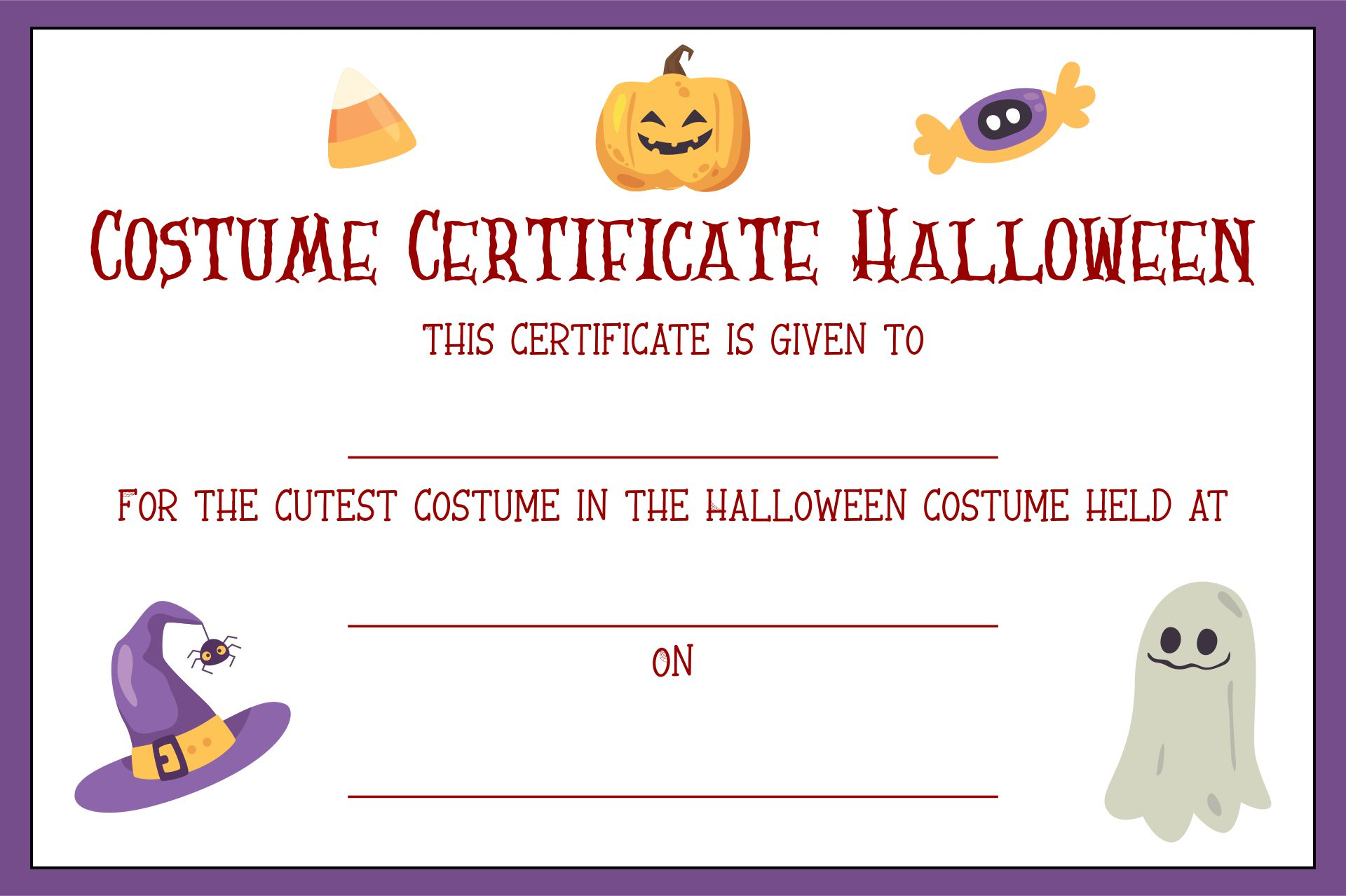 Halloween Costume Award Printable Certificates