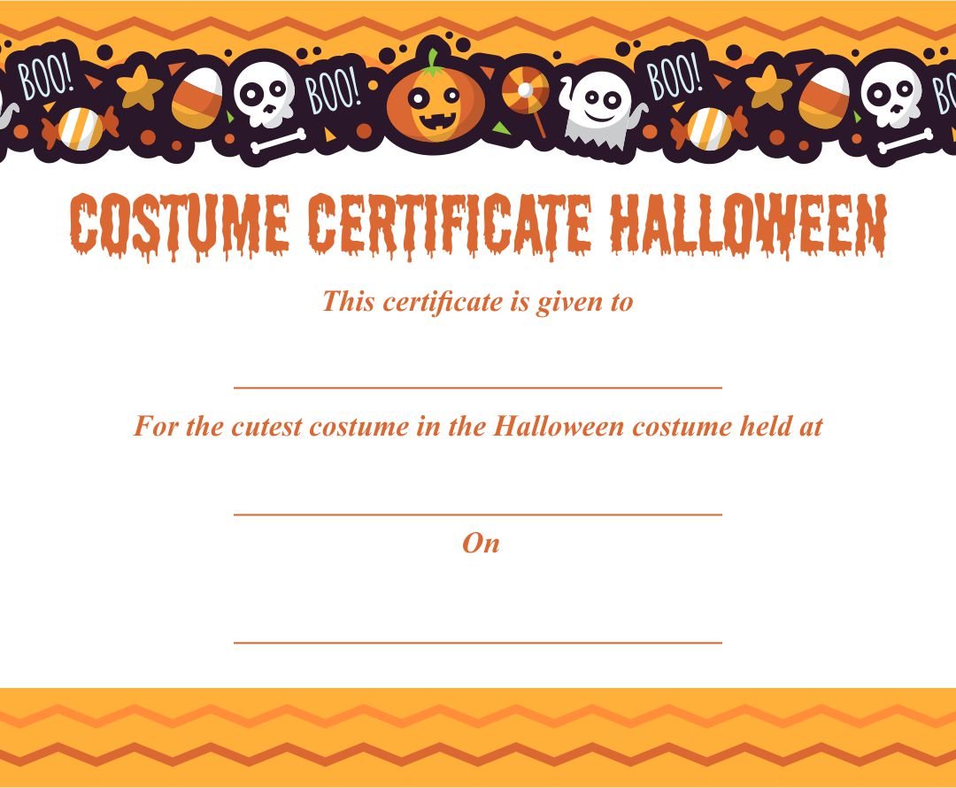 Halloween Costume Awards Printable Free