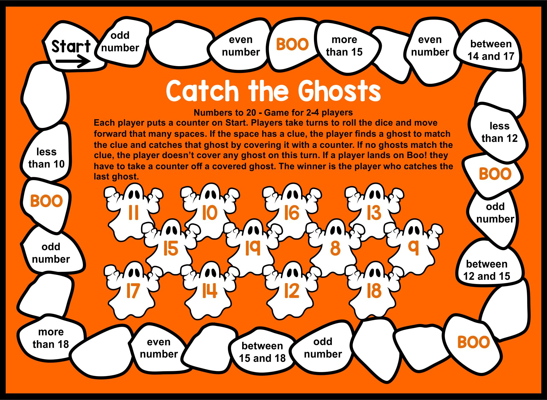 Halloween Math Board Games