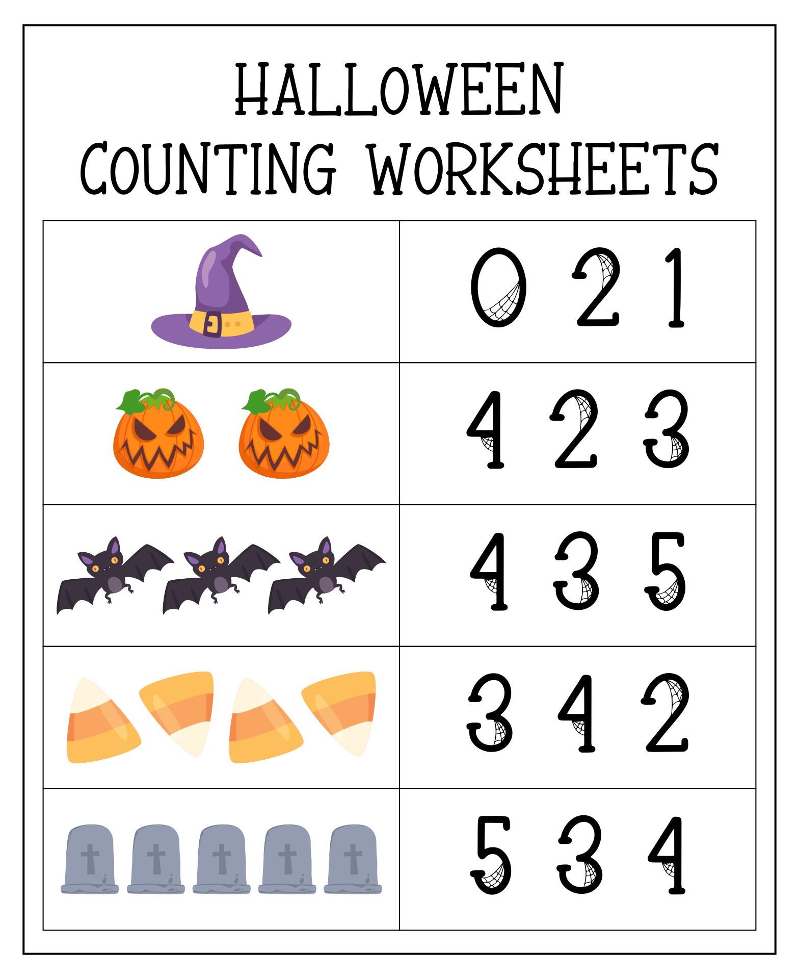Halloween Math Printables Pre-K