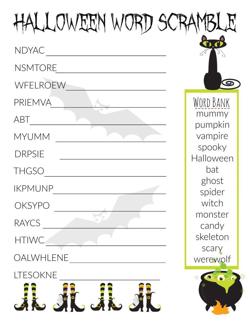Halloween Word Scramble Worksheet
