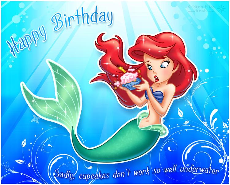 5 Images of Little Mermaid Birthday Card Printable