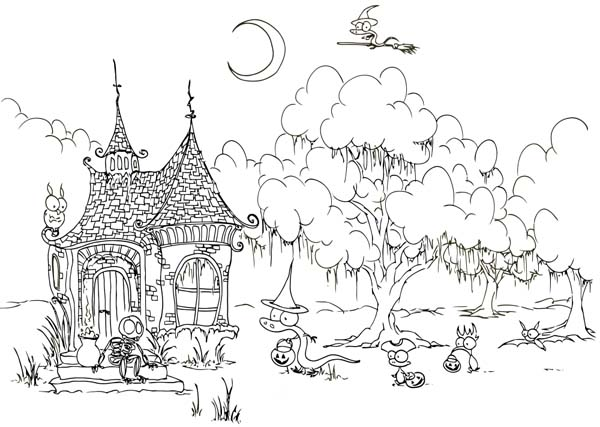Post free Printable Coloring Pages Witch House 143005 on scary graveyard scene