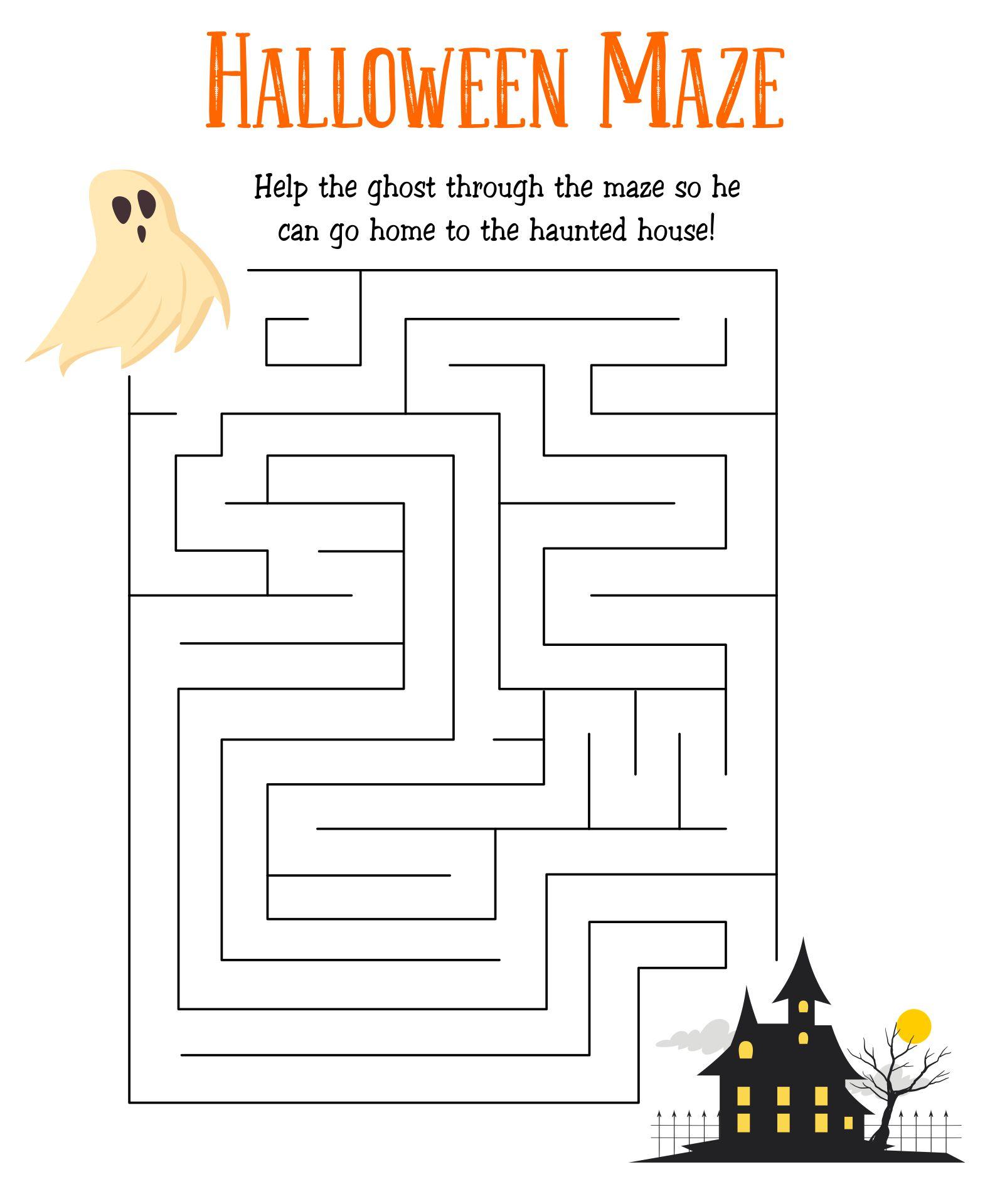 Haunted House Maze Printable