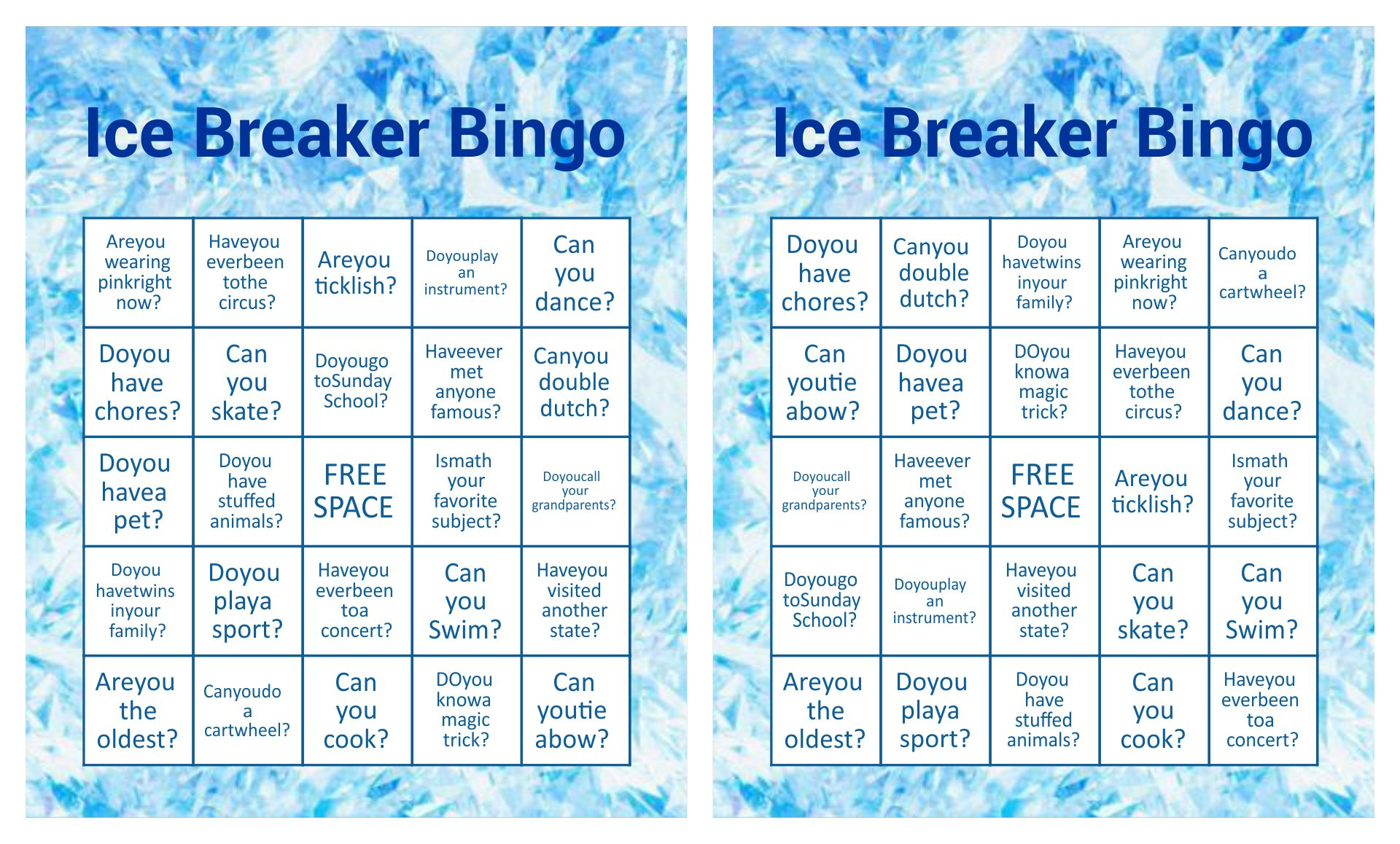 Ice Breaker Bingo Game Printable