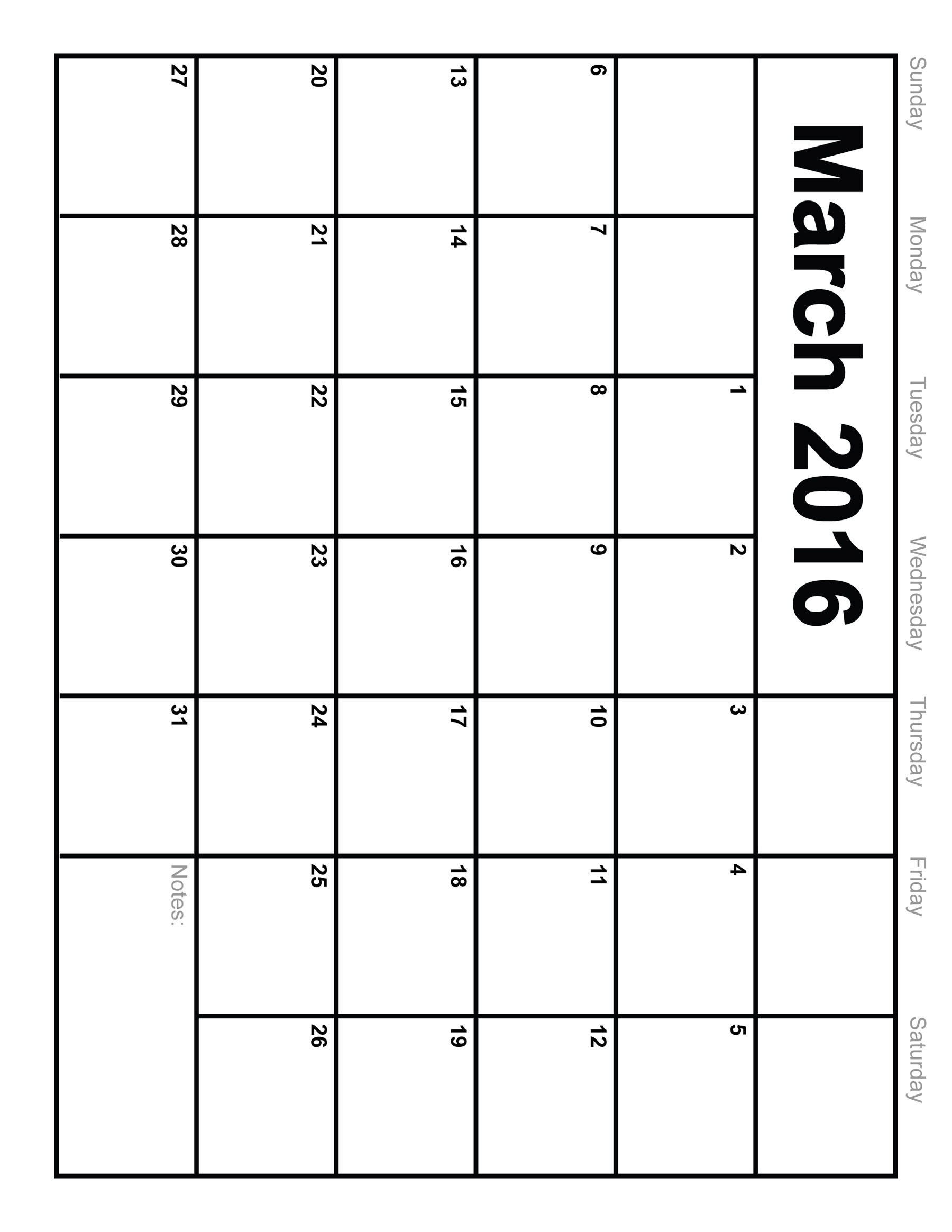 7 Images of Printable March 2016 Monthly Calendar