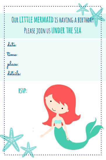 8 Images of Free Printable Mermaid Invitation Template
