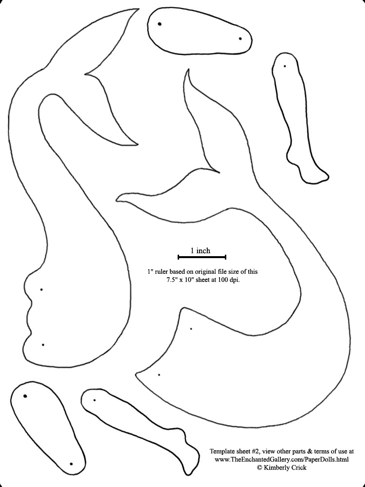 6 Images of Mermaid Printable Cut Out Templates