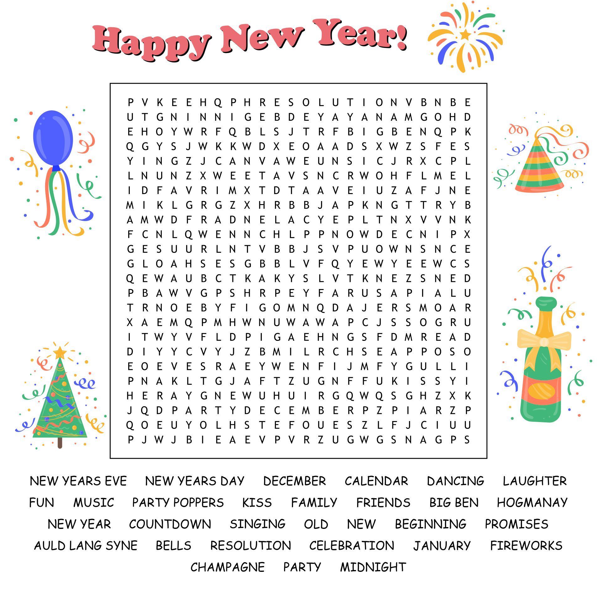 New Years Eve Word Search