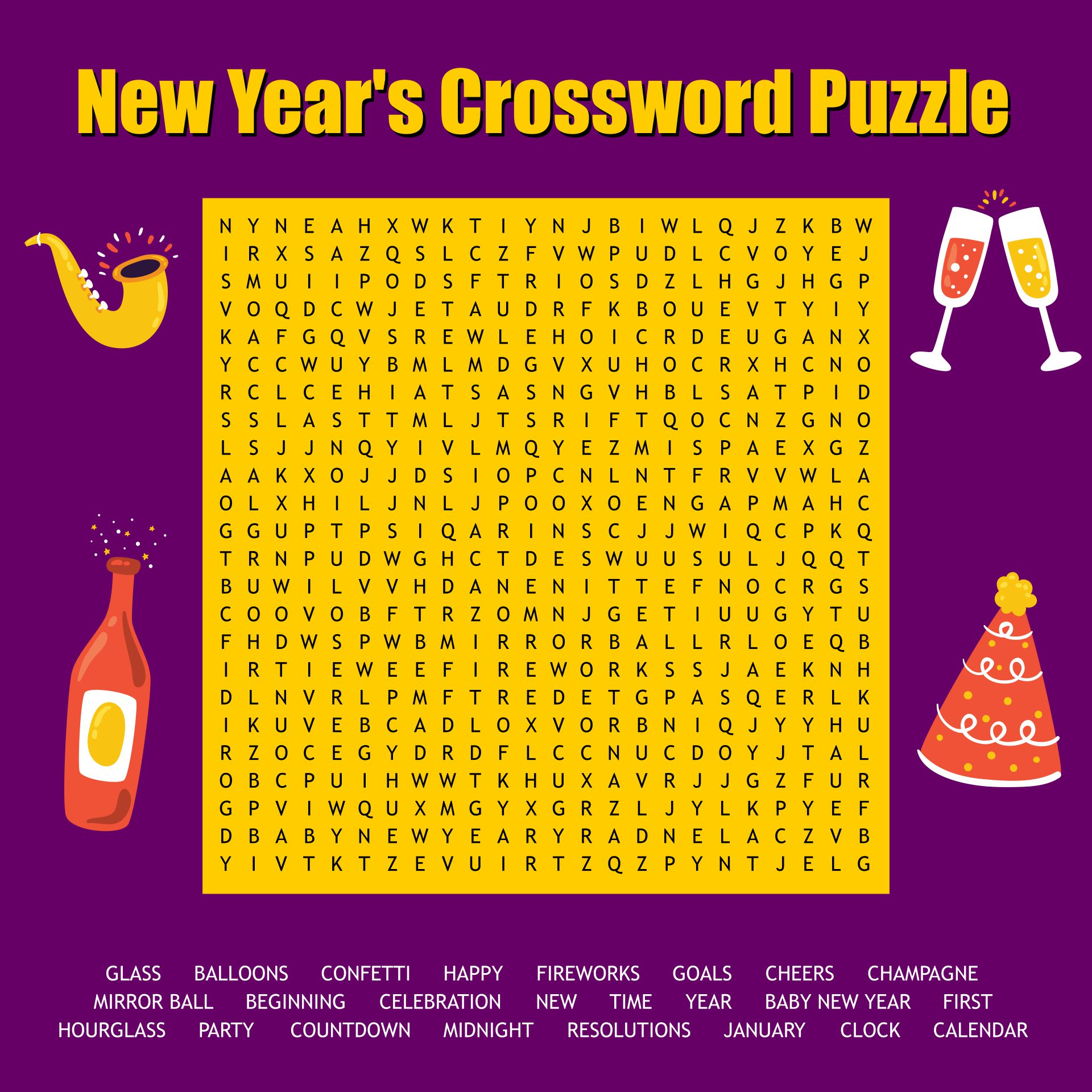 New Year Word Search Puzzle Printable