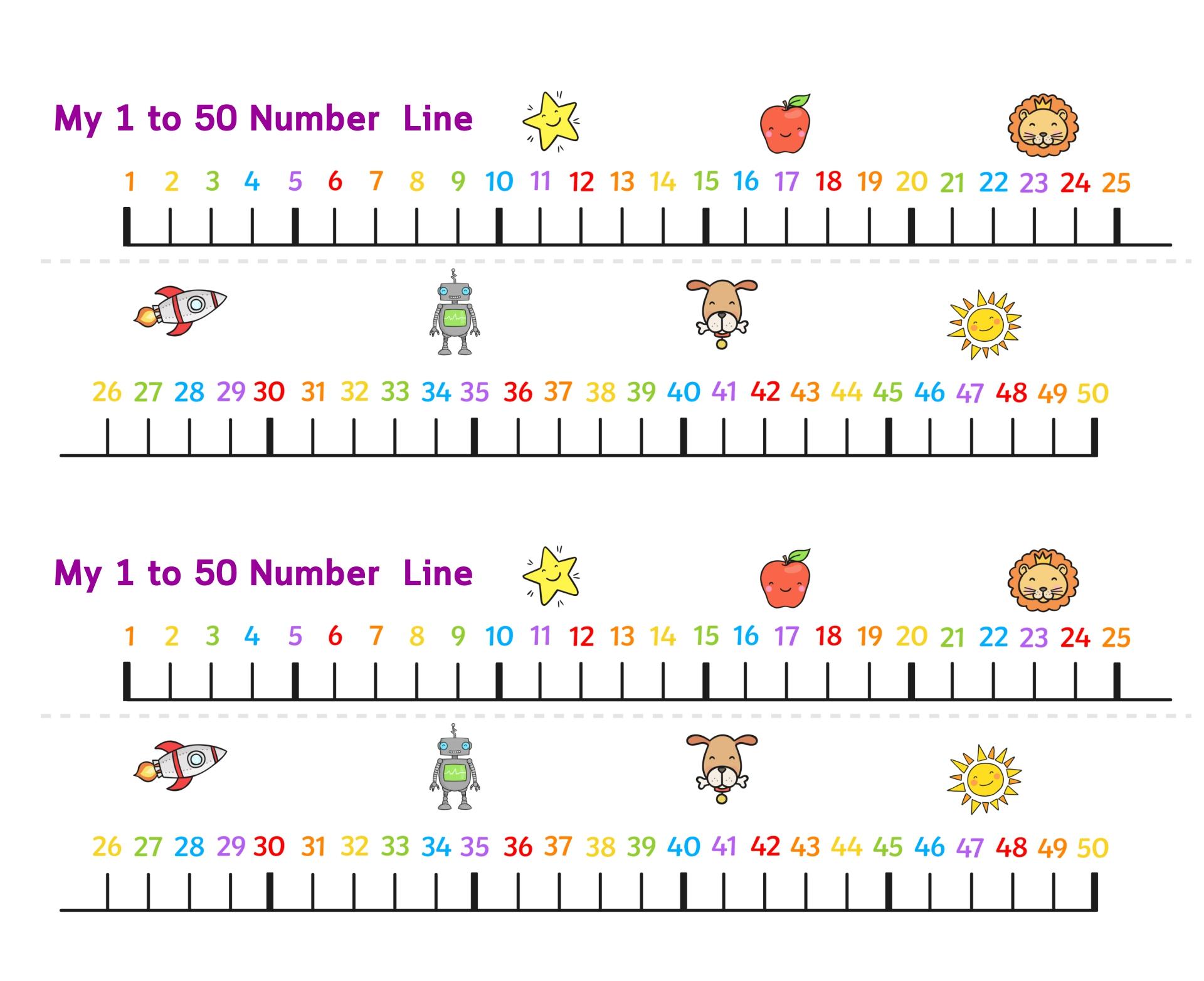 Number Line 1-50 Printable
