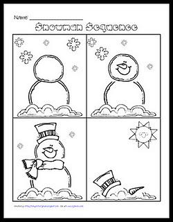 6 Images of Snowman Sequencing Printables