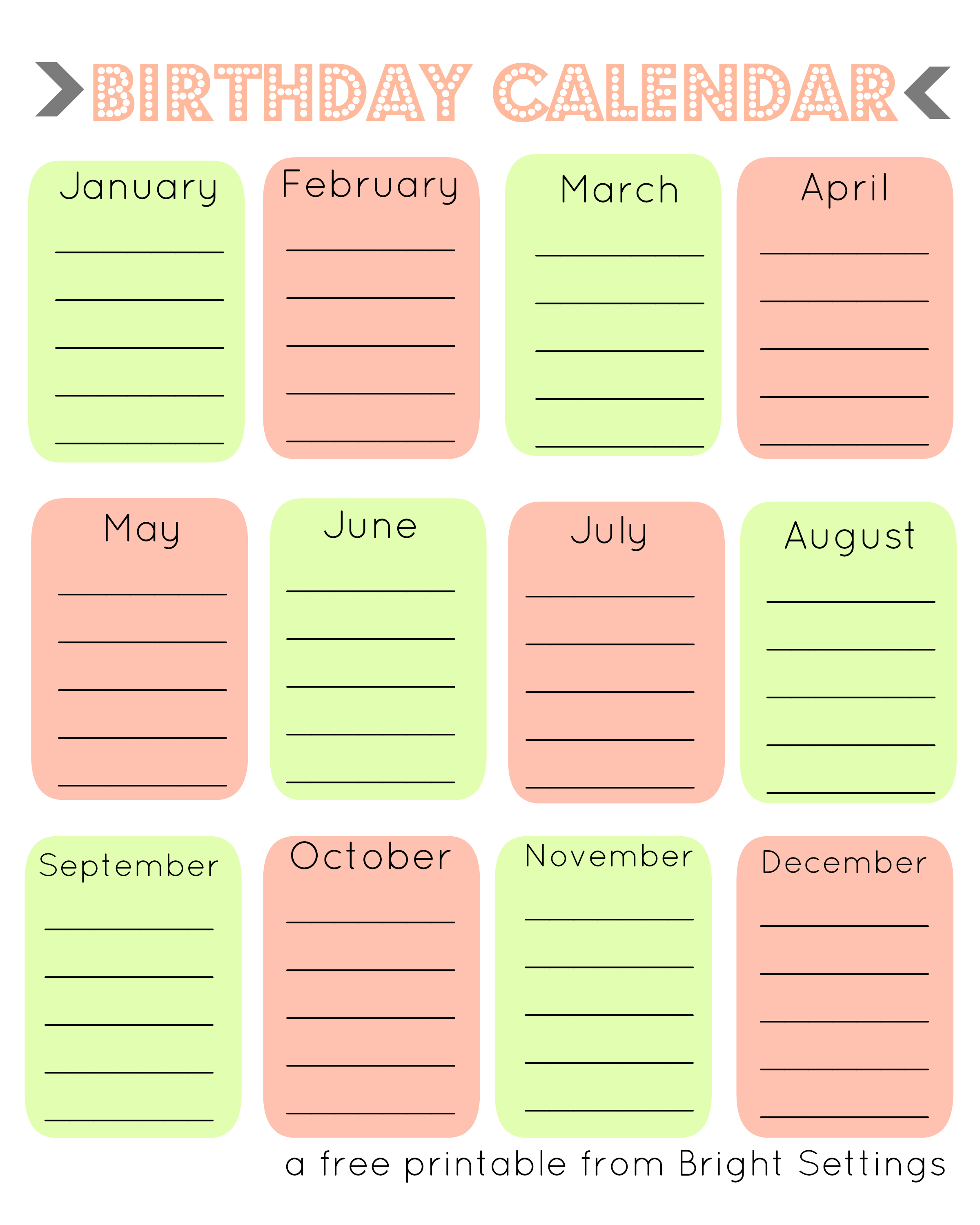 7 best images of fillable birthday calendar printable free