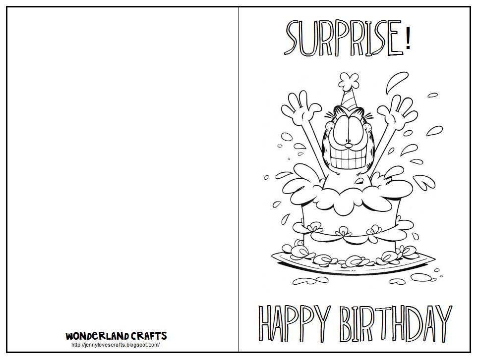 Printable Folding Birthday Card Black and White