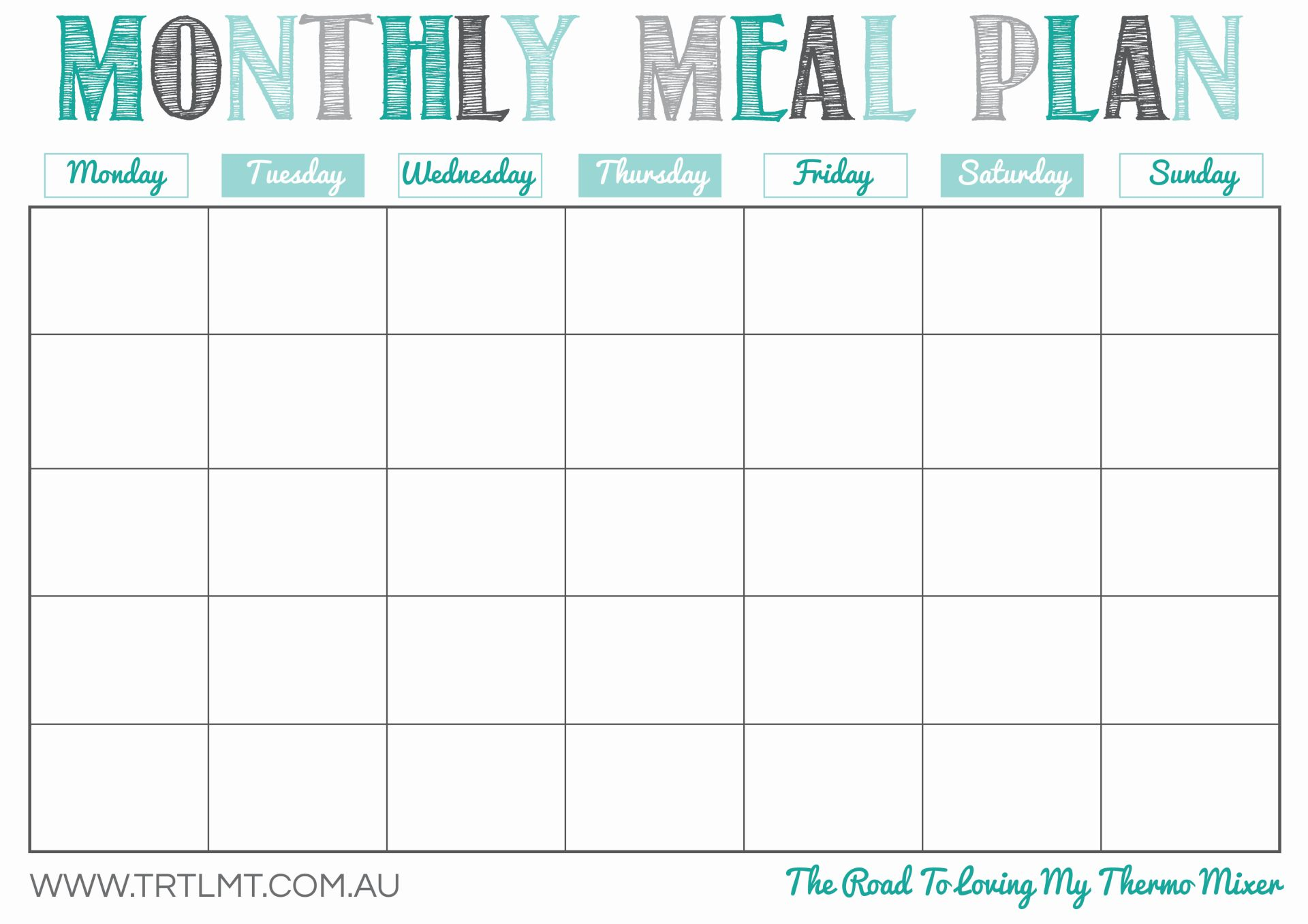 monthly organiser template - 8 best images of meal planning template printable