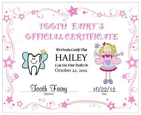 7 best images of tooth fairy certificate printable tooth for Free printable tooth fairy certificate template