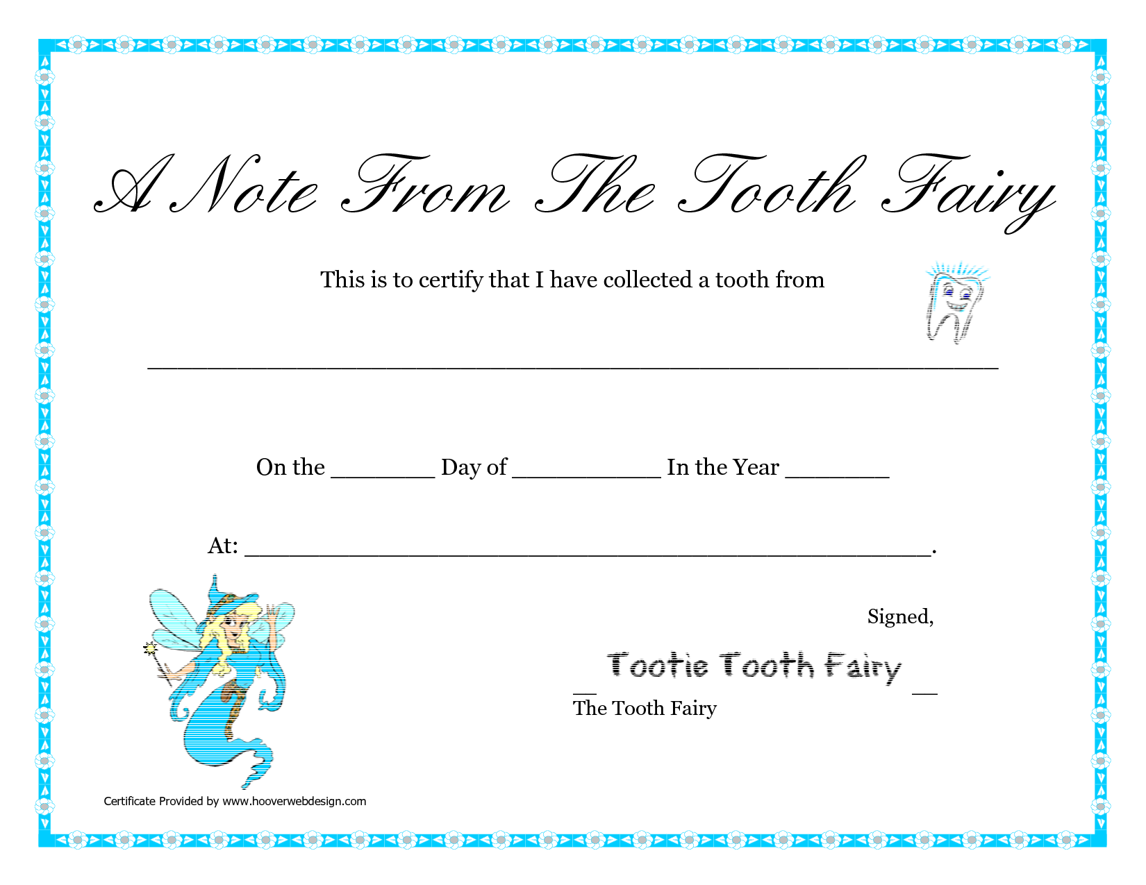 7 best images of tooth fairy certificate printable tooth