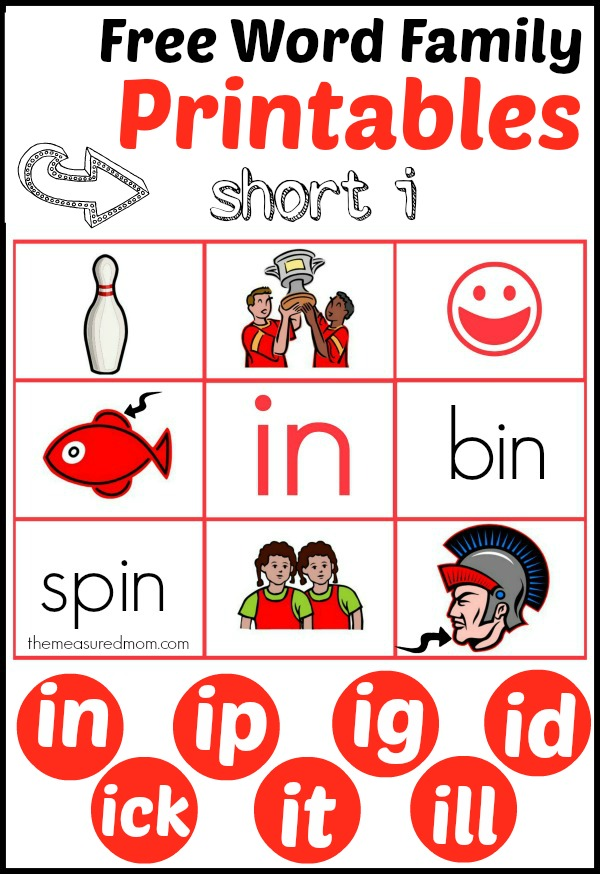 7 Images of ID Word Family Lists Free Printable