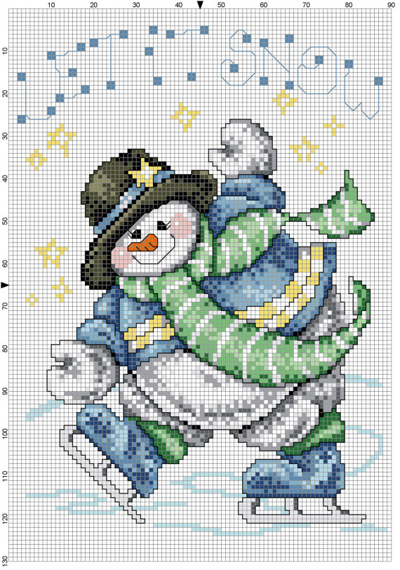 7 Images of Counted Cross Stitch Patterns Free Snowman Printable