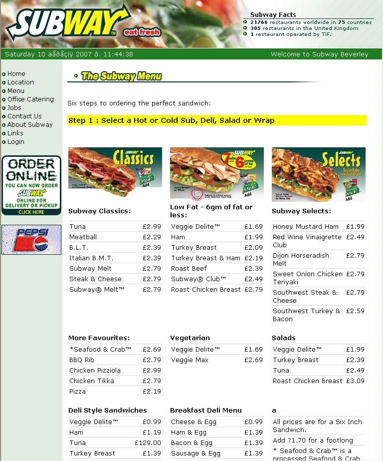 5 Best Images Of Printable Subway Menu With Prices