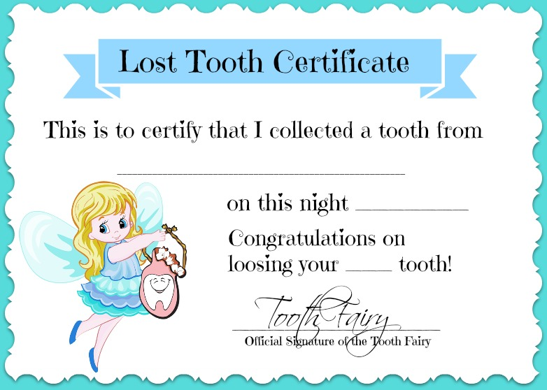 7 Images of Tooth Fairy Certificate Printable