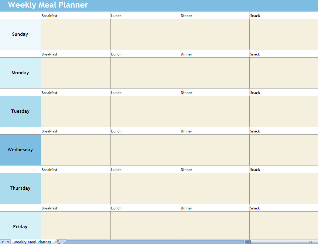 8 Images of Meal -Planning Template Printable