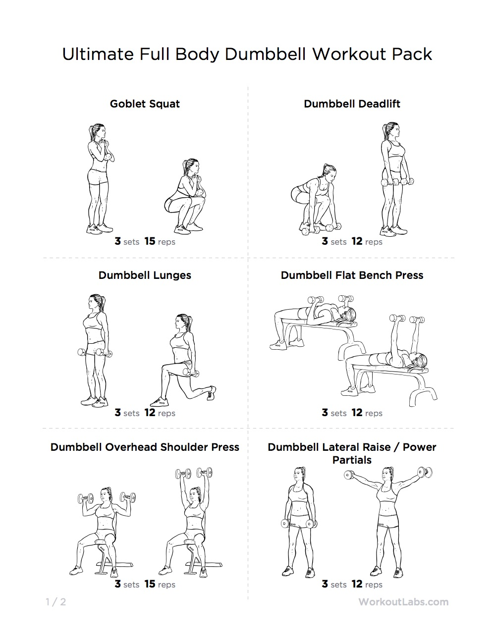 4 Images of Printable Dumbbell Workouts For Men