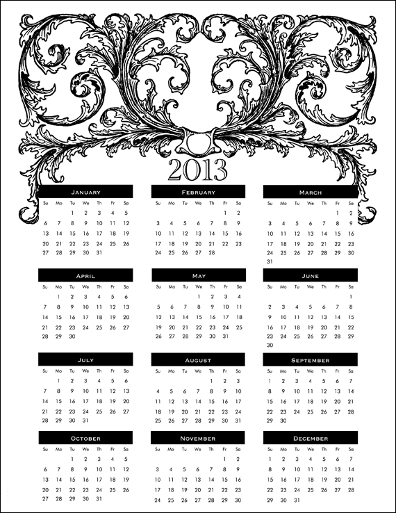 4 Images of Free Printable Year Calendar 2013 With Holidays