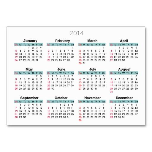 7 Images of Pocket Size 2014 Calendar Printable