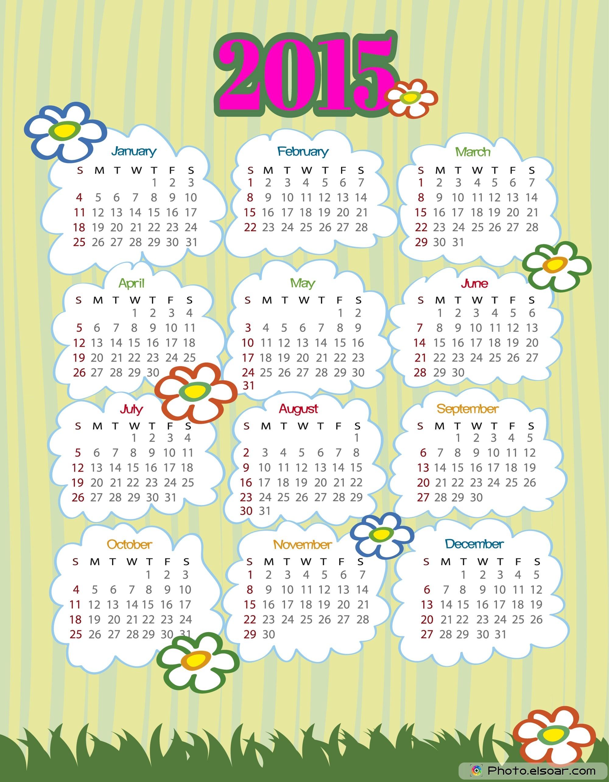 2015 Calendar Printable Flowers