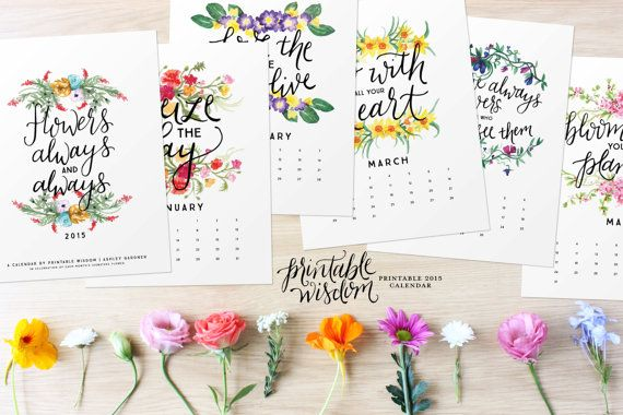 2015 Printable Calendar Inspirational