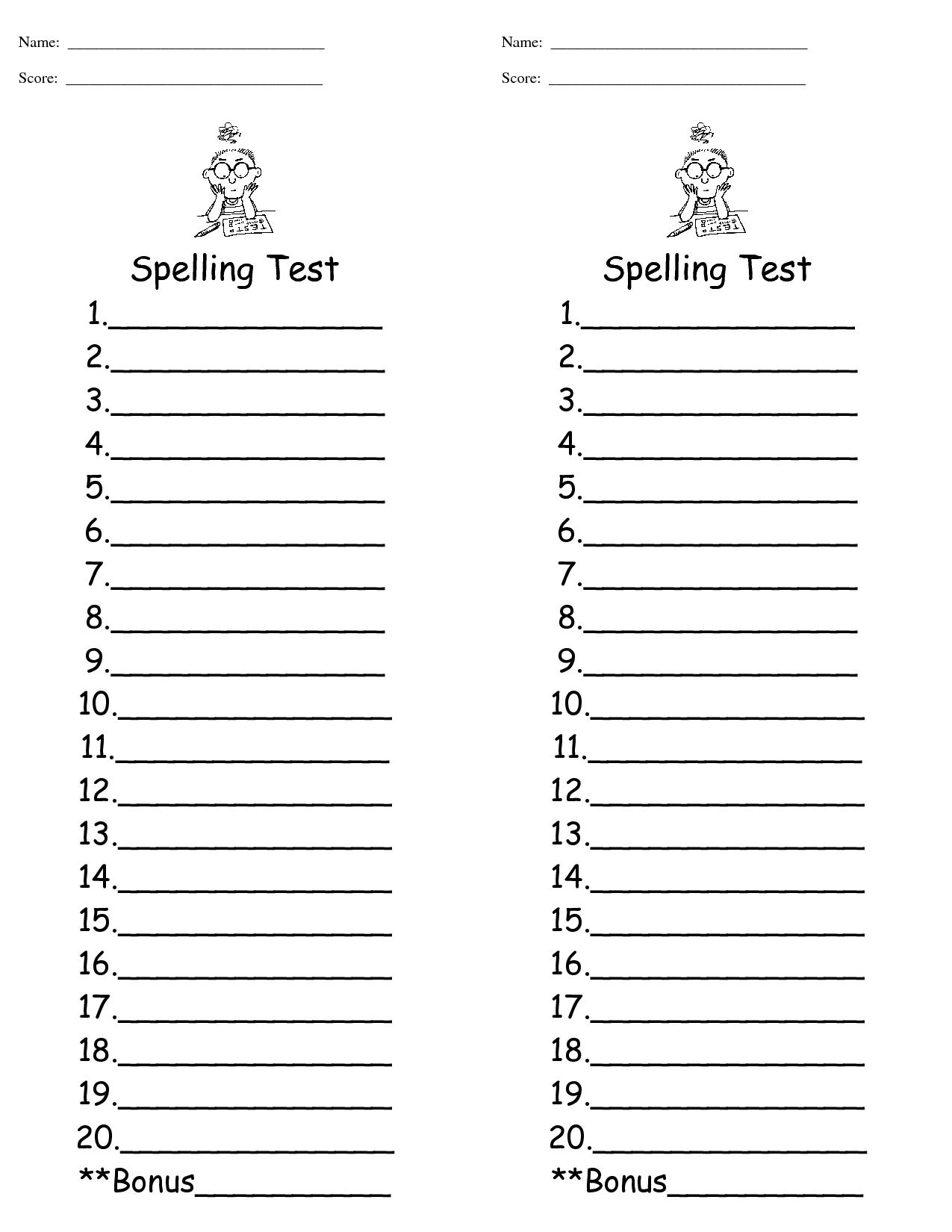 3rd Grade Spelling Test Template