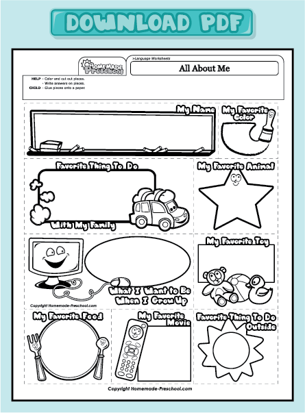 Worksheets All About Me Printable Worksheets 4 best images of about me preschool printable all worksheet