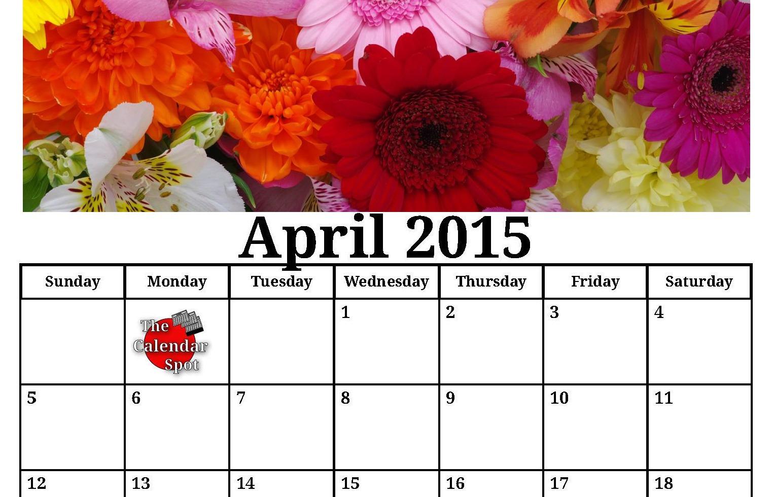 April 2015 Calendar Printable with Flowers
