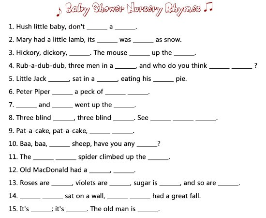 Baby Shower Nursery Rhyme Game Answers