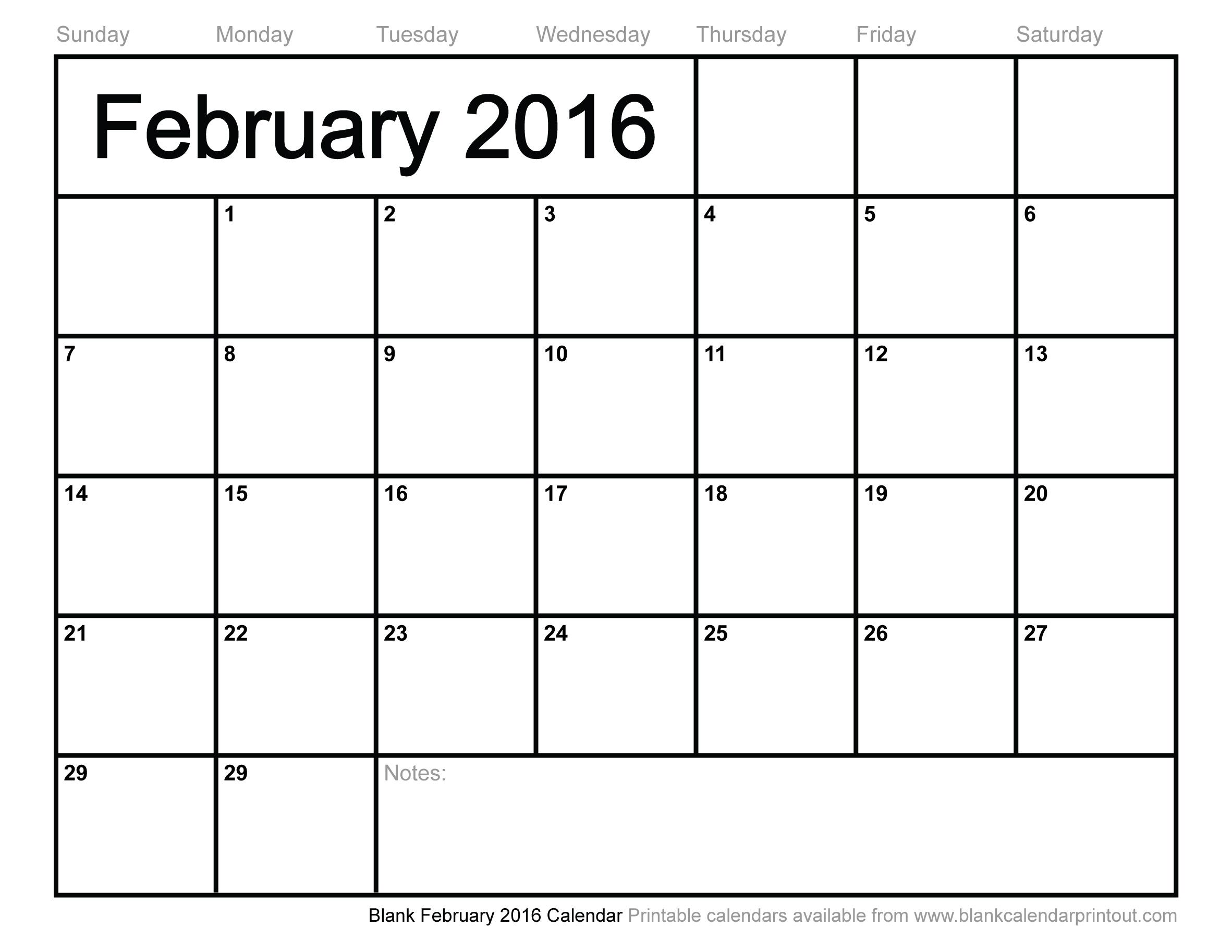 8 Images of Printable Blank Calendar February 2016
