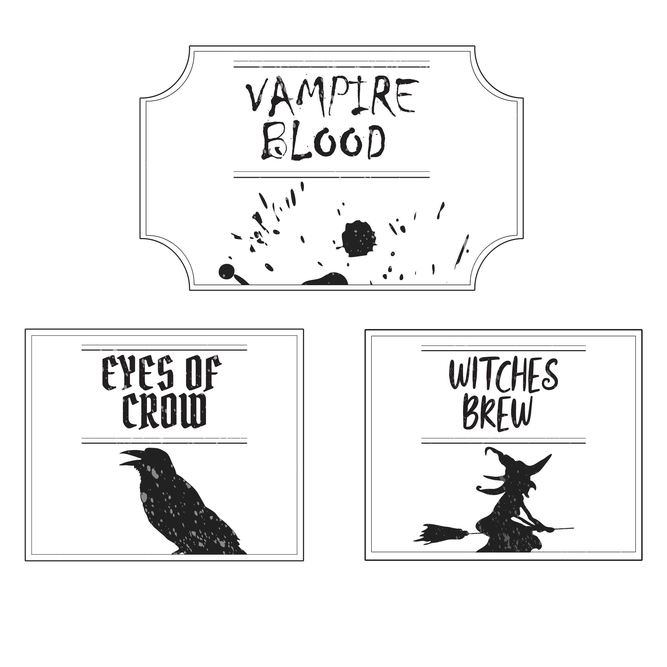 Blank Printable Halloween Bottle Labels