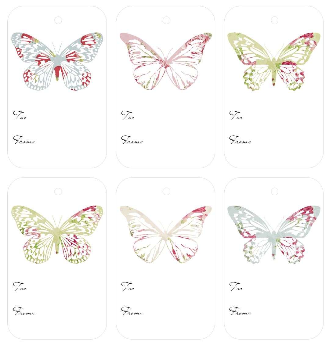 4 Images of Free Printable Butterfly Gift Tags