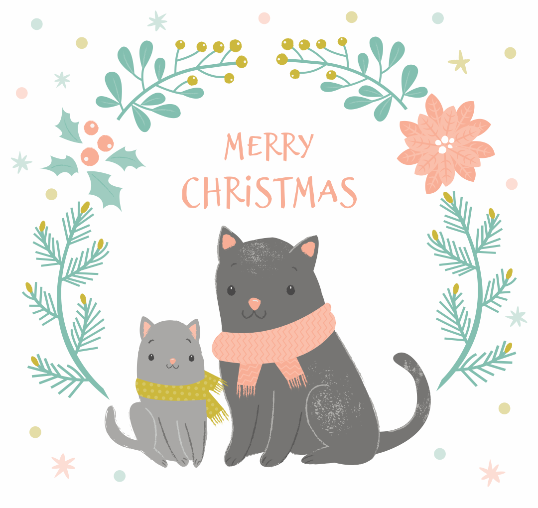 Christmas Cards That You Can Print of Cats