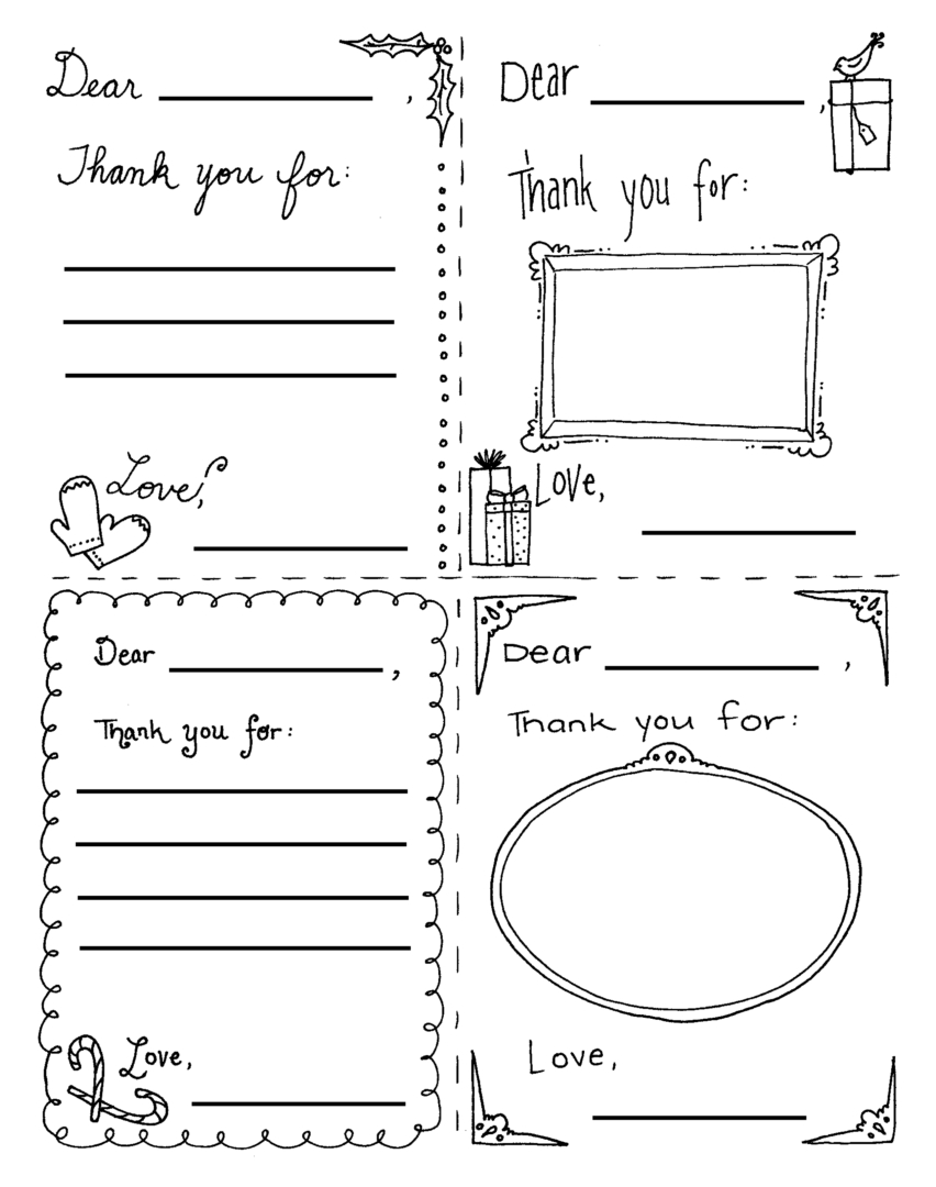 Christmas Coloring Page Thank You Cards