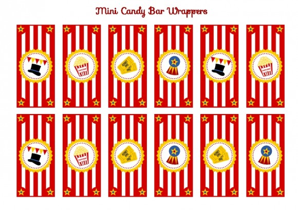5 Images of Circus Candy Wrappers Free Printable