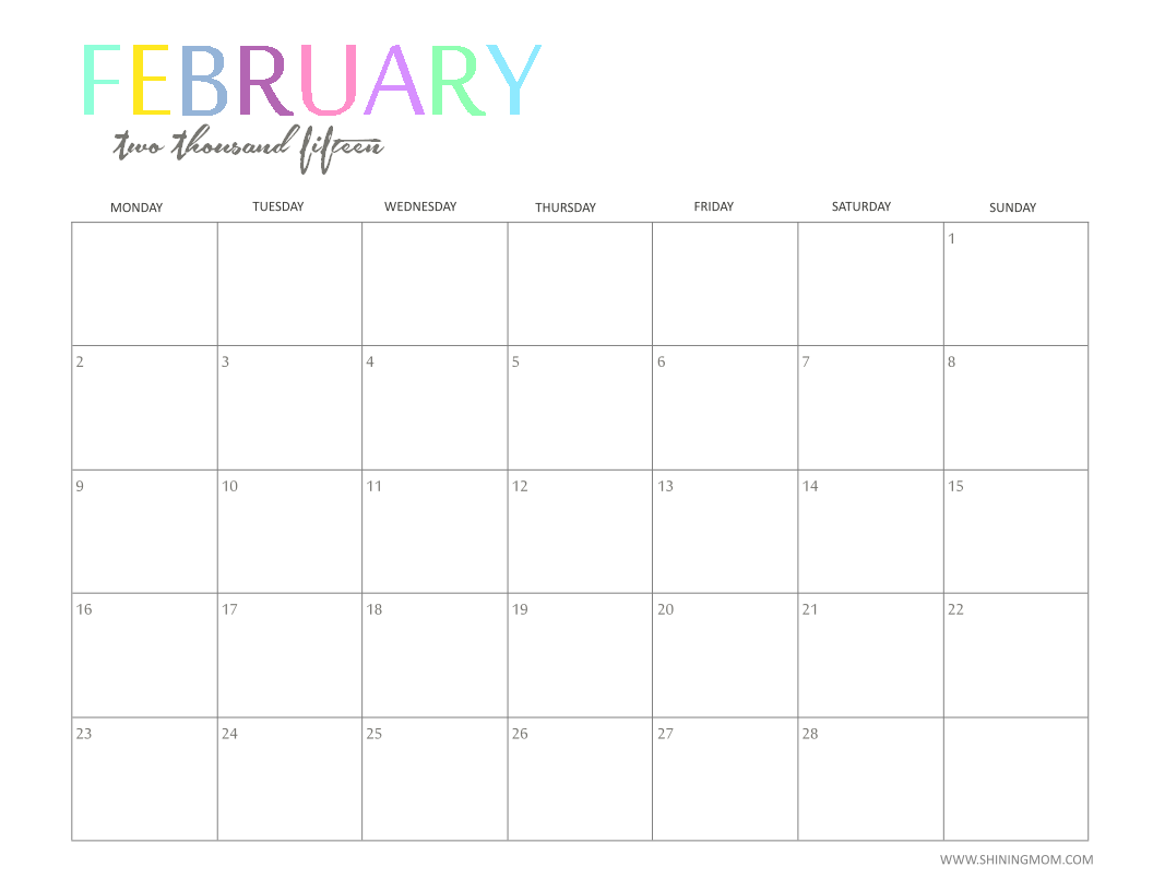 6 Images of Cute Printable Calendar Feb 2015
