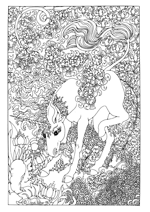 4 Best Images Of Adult Coloring Pages Printable Animals Unicorn Hard