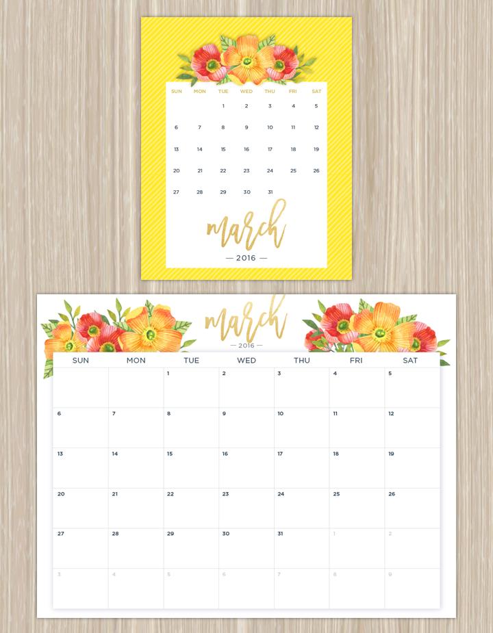 Floral Printable Calendar March 2016
