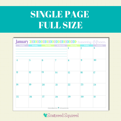 5 Images of 2015 Monthly Calendar Printable One Page