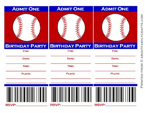 9 best images of free baseball printable invitation for Sports ticket template free download