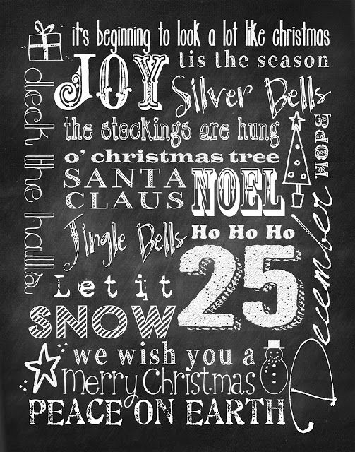Free Printable Christmas Subway Art Chalkboard