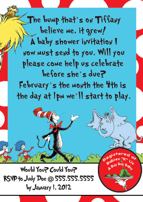 5 Images of Free Printable Dr. Seuss Baby Shower Invitations